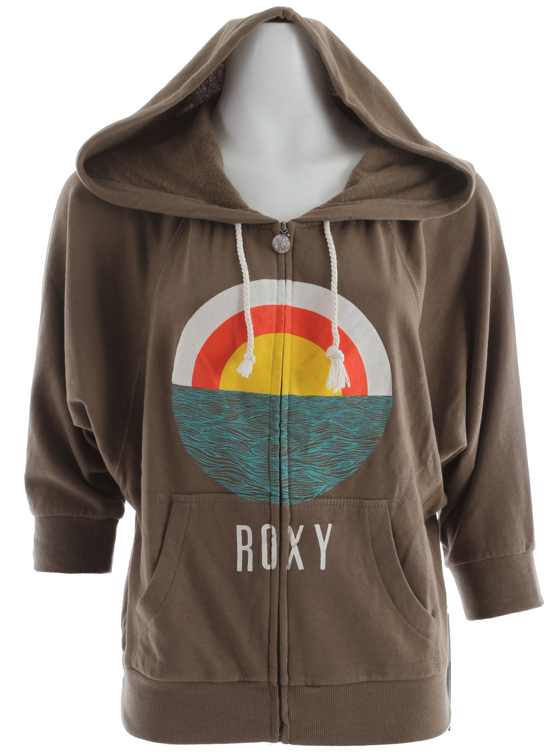 "Surf Key Features of the Roxy Harmony Hoodie: 60% cotton/40% poly light weight fleece 190gms enzyme washed Dolman zip up hooded fleece 24"" hps - $34.95"