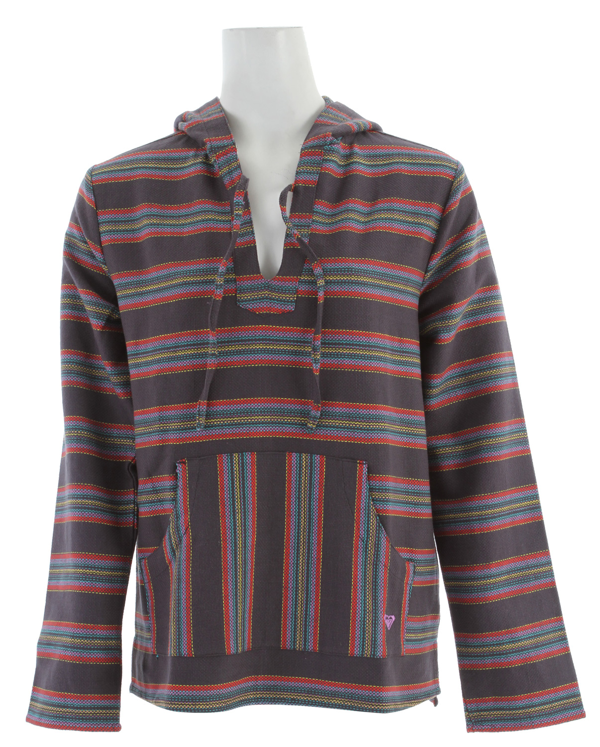 "Surf Key Features of the Roxy Tequila 2 Hoodie: 100% cotton heavy yarn dye stripe Beach pullover with kanga pocket Contrast stripe at hood 27"" hps - $44.95"