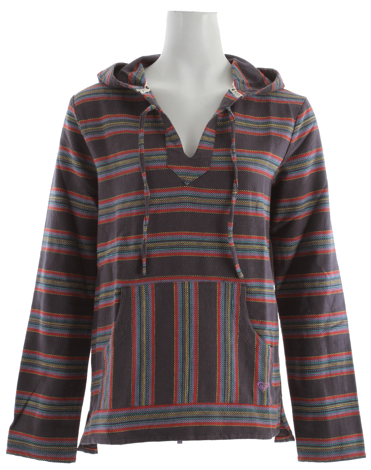 "Surf Key Features of the Roxy Tequila 2 Hoodie: 100% cotton heavy yarn dye stripe Beach pullover with kanga pocket Contrast stripe at hood 27"" hps - $41.95"