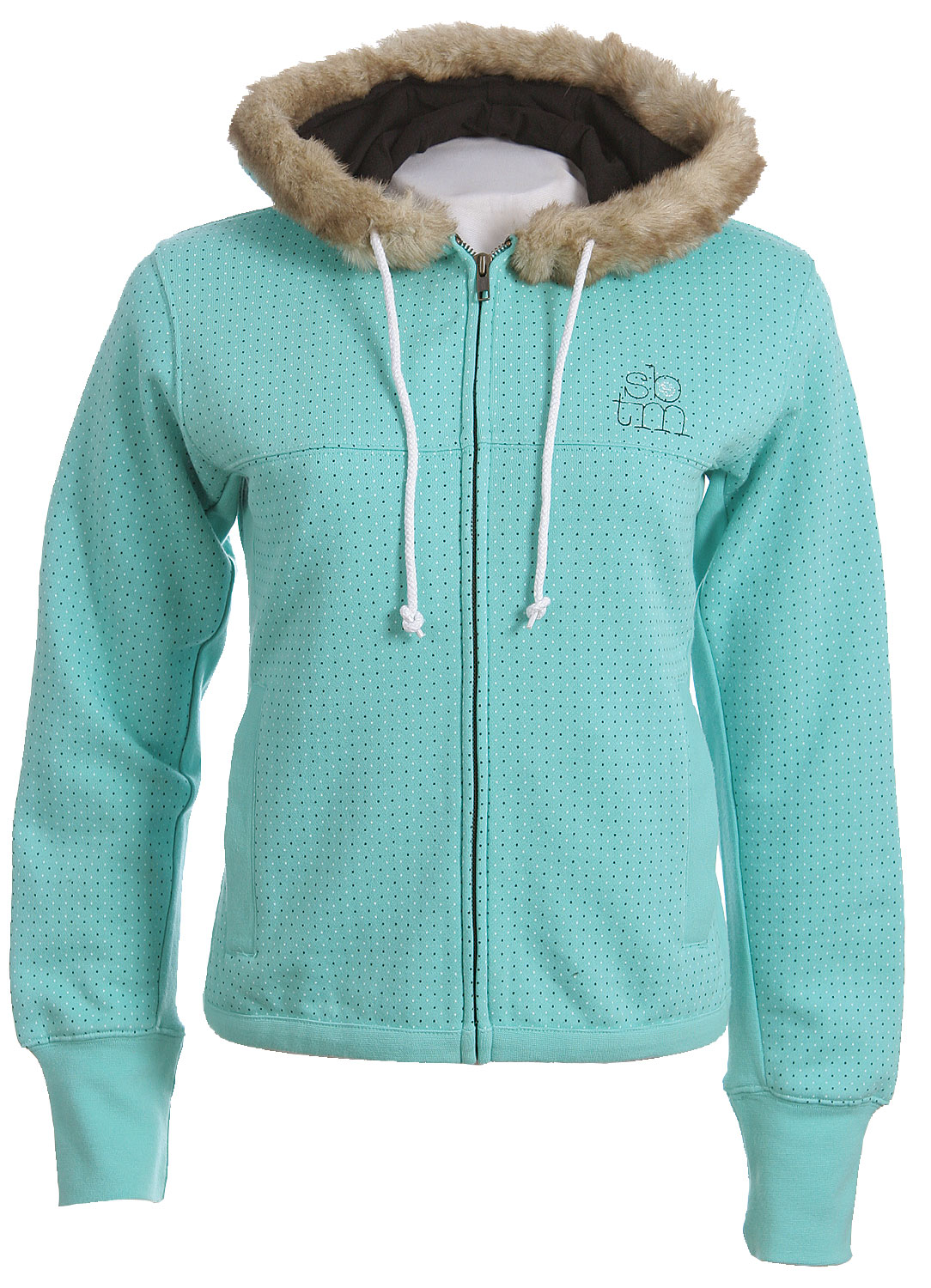 Cute, cozy, and comfortable this feminine hoodie will show off your unique style. With its polka dot design and fur lined hood, the Special Blend Dot Zip Hoodie combine femininity and style into one slick looking hoodie! This sweatshirt is made from 80% cotton and 20% polyester for a lightweight but warm feel. It features two front pockets and a drawstring hood to provide utility in addition to style. The Special Blend Dot Zip Hoodie is a great addition to any wardrobe.Key Features of The Special Blend Dot Women's Zip Hoodie: Regular Fit All Over Polks Dot Screen Print 80% Cotton / 20% Polyester Fur Lined Hood - $29.95