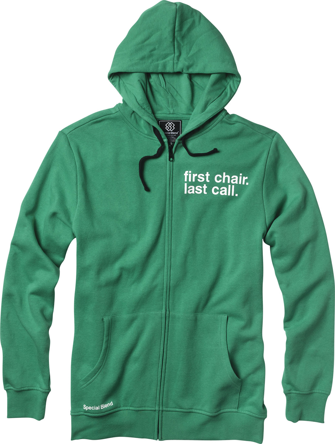 Key Features of the Special Blend First Chair Last Call Zip Hoodie: Full zip hooded fleece Freedom fit 80% cotton 20% polyester, 300 gms. Screenprint art - $27.95