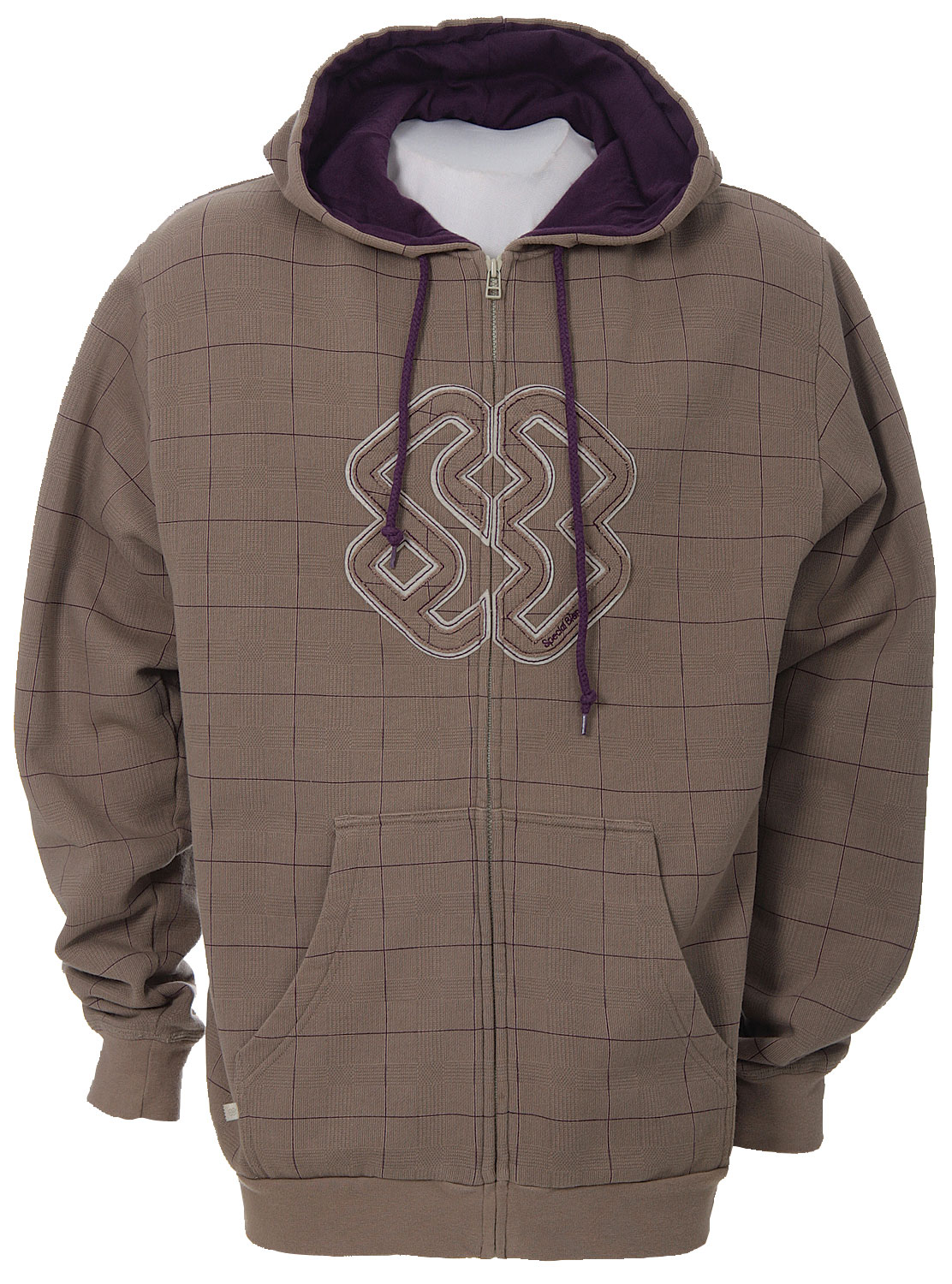 Key Features of the Special Blend Grid Check Zip Hoodie Tan Check Grid: 80% Cotton/20% Polyester 360gm - $20.95