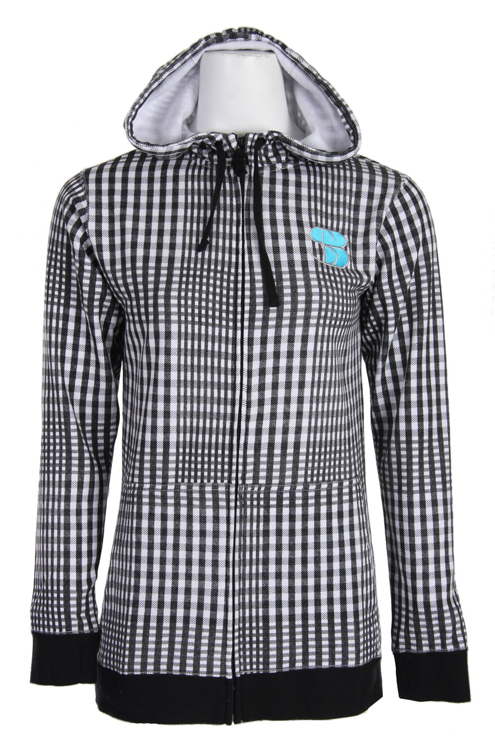 The Special Blend Gingham Shocker Hoodie is a wicked jacket. The colors are plain amazing will make any girl stand out. The hoodie is made with 80% cotton and 20% polyester which means that it provides warmth and will protect you from getting wet in the rain. It also has a hidden pocket to store your music player in. This jacket is really stylish and for this price, it is a steal. Anyone who loves to buy clothes should buy this jacket to add to their collection.Key Features of The Special Blend Gingham Shocker Women's Hoodie: Zip hooded sweatshirt 80% cotton 20% polyester Long fit Fitted hood Higher collar Thumbholes on cuff All over gingham print on body Garment wash for softer hand Chest embroidery Hidden mp3 pocket - $29.95