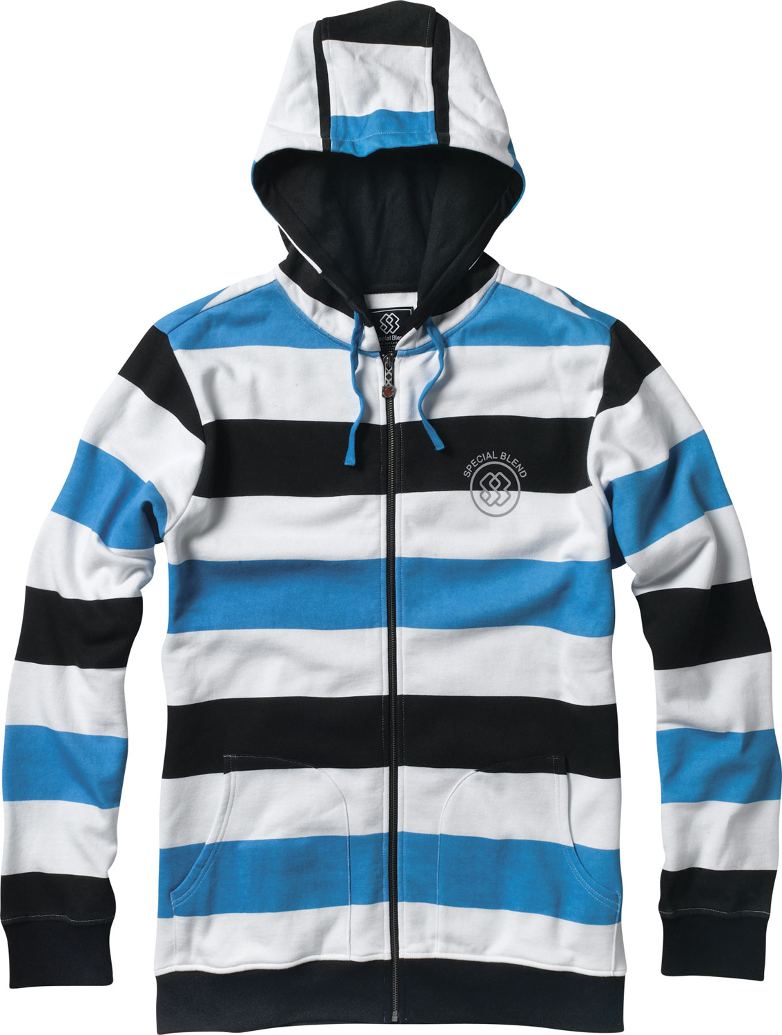 Key Features of the Special Blend Proof Zip Hoodie: Full zip hoodie with high neck collar Freedom fit 80% cotton 20% polyester, 300 Gms. Printed stripe fleece - $59.95