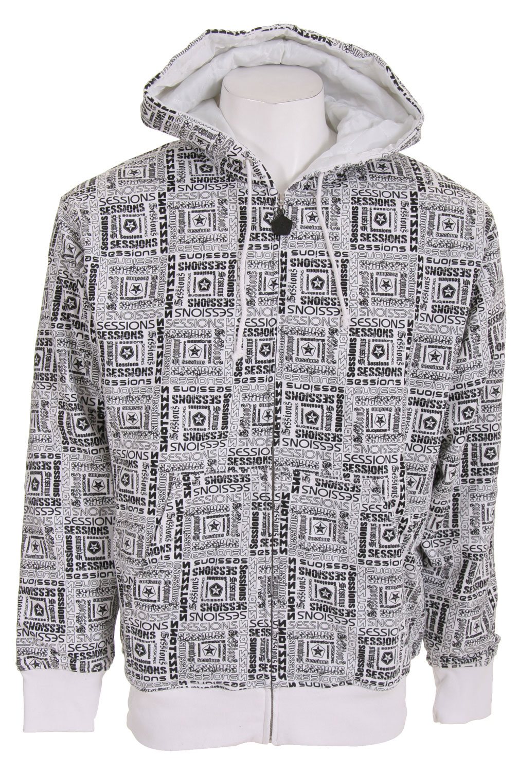 The Sessions Boss Zip Hoodie is a work of art. It is covered with an amazing print and is sure to draw eyes on the slopes, while pulling off a kick flip, or while you're just walking around town. It's satin liner is comfortable on the skin so there is no need to wear a long sleeve shirt underneath like you would while wearing a cheaper imitation hoodie. The cotton is well made and it fits like a king's best robe. A one of a kind hodie with a one of a kind print.Key Features of The Sessions Boss Zip Hoodie: All Over Print Quilted Satin Liner 80% Cotton/20% Poly - $27.85