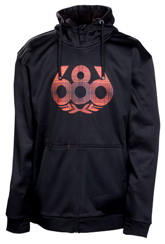 Key Features of the 686 Icon Bonded Tech Hoodie: 100% poly knit jersey face with bonded brushed fleece back Inner zipper flap with chin guard hidden i-Pod stash pocket ribbed cuffs and hem band thumbhole cuff opening embroidered underarm eyelets - $79.95
