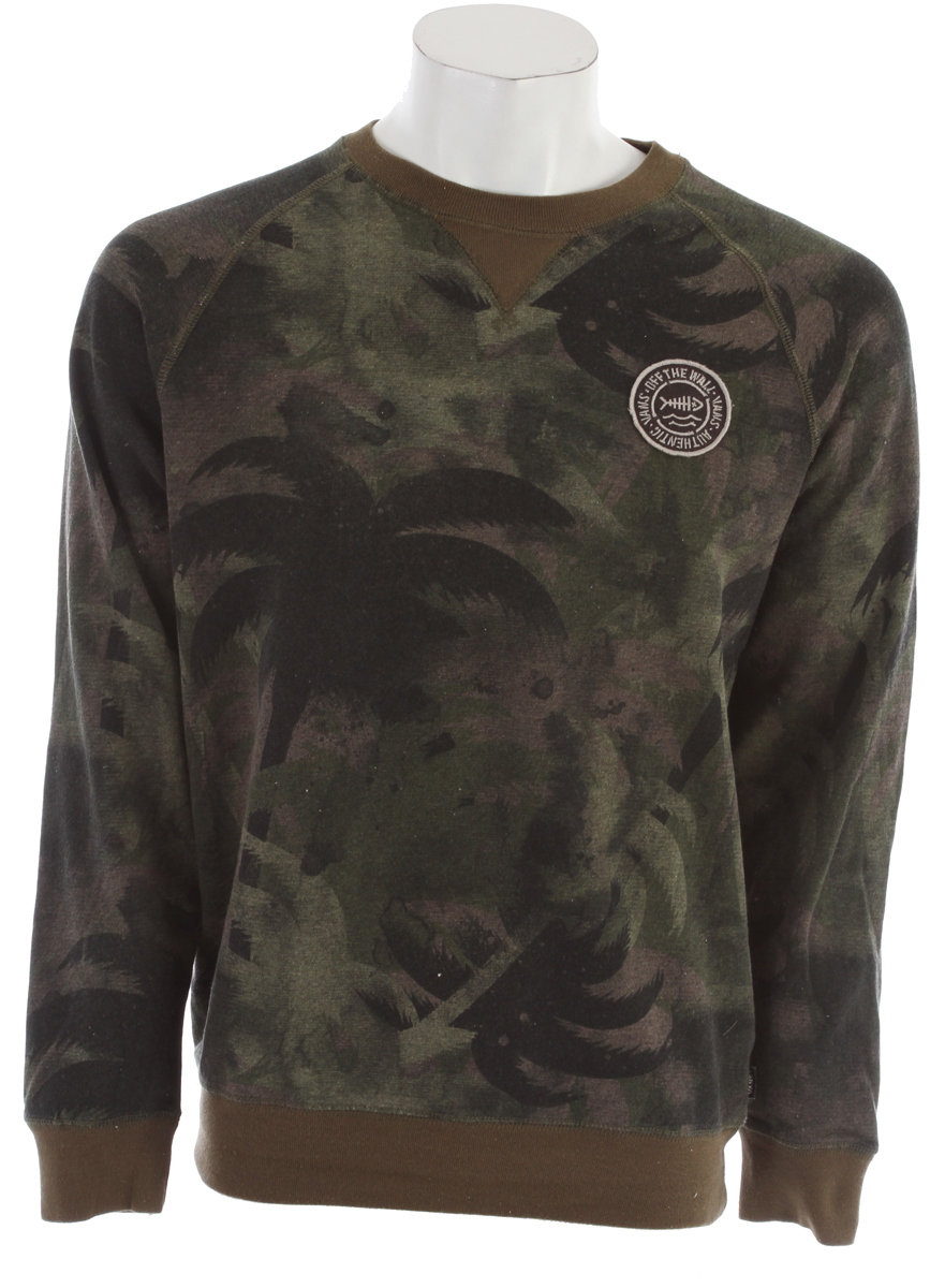 Skateboard Key Features of the Vans Encinitas Sweatshirt: 100% Cotton crew fleece available in solid, heather, printed camo, and striped fabrications Vans patch label on left chest Pieced neck detailing. - $37.95