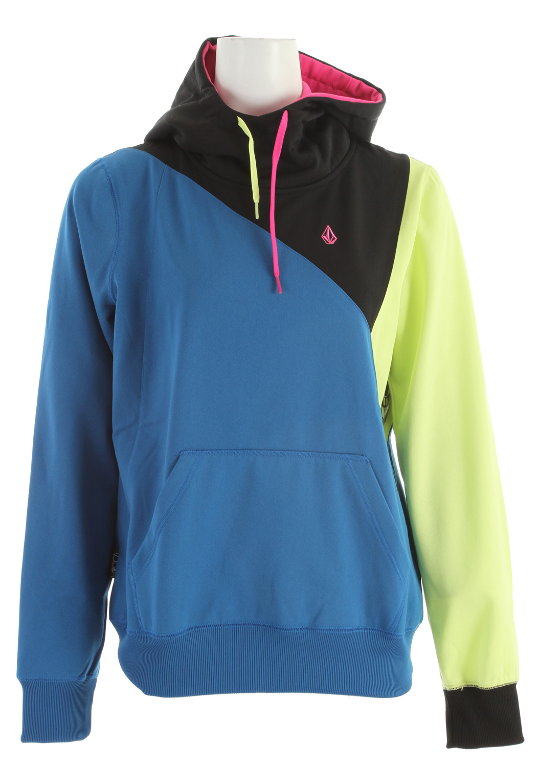 Surf Key Features of the Volcom Avena Full Zip Hoodie: Hydrophobic Fleece Ribbed Cuff Ribbed Hem 2-One Drawcord Hood Cinch Contrast Colored Hood Lining Stone Embroidery Volcom Woven Label Multi Blocked Panels - $60.00