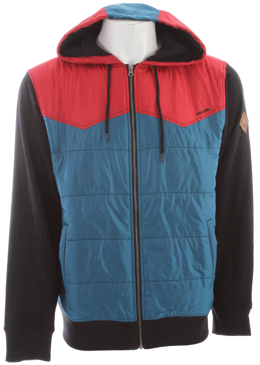 Surf Key Features of the Volcom Cane Hoodie: Quilted poly fill fleece Poly taffeta hood, and body Fleece lined body, and fleece sleeves Outdoor trim package Chest embroidery 100% Polyester Taffeta 600mm/DWR - $52.95