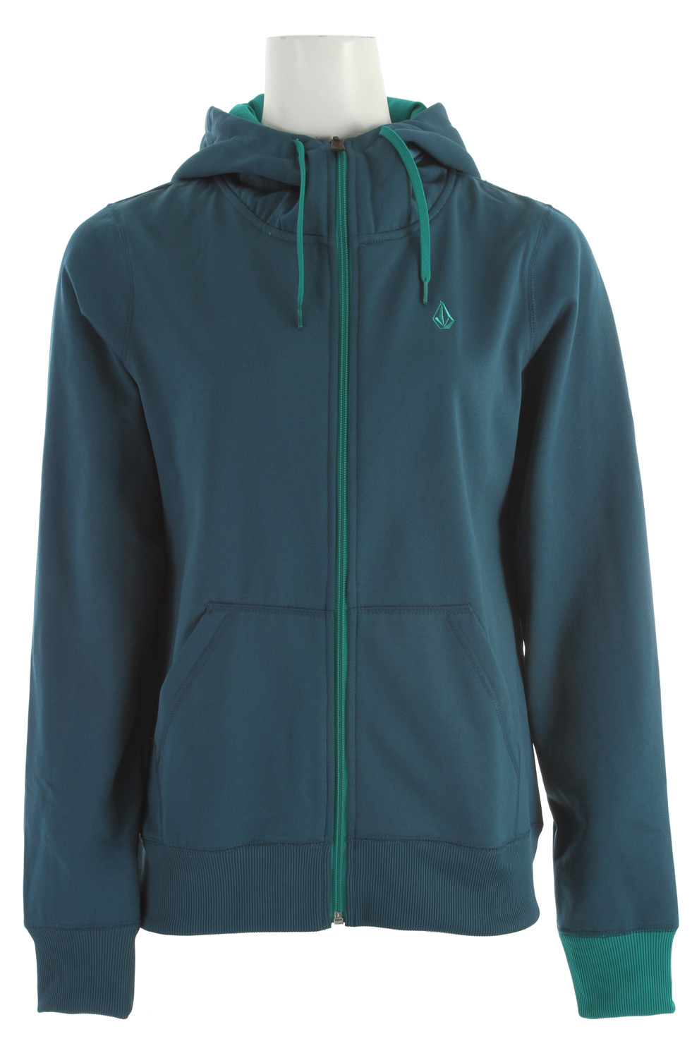Surf Key Features of the Volcom Carpel Full Zip Hoodie: Hydrophobic Fleece Ribbed Cuff Ribbed Hem Contrast Colored Drawcord Hood Cinch Contrast Colored Hood Lining Stone Embroidery Volcom Woven Label - $37.95