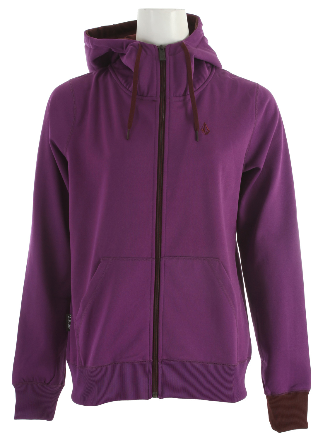 Surf Key Features of the Volcom Carpel Full Zip Hoodie: Hydrophobic Fleece Ribbed Cuff Ribbed Hem Contract Colored Drawcord Hood Cinch Contrast Colored Hood Lining Stone Embroidery Volcom Woven Label - $55.00