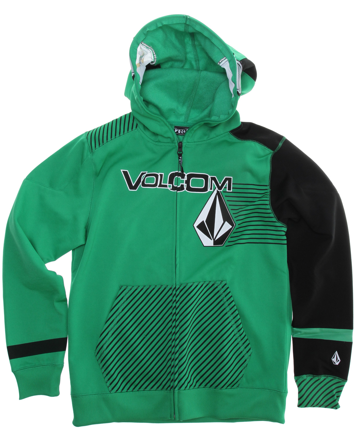Surf Key Features of the Volcom Hammer Full Zip Hoodie: Hydrophobic Fleece Ribbed Cuff Ribbed Hem Fully Enclosed Zip Hood Gigi Ruff Printed See-Through Mesh 'Goggles' Volcom Woven Label Volcom, Stone And Stripes Screen Let It Storm Screen - $70.00