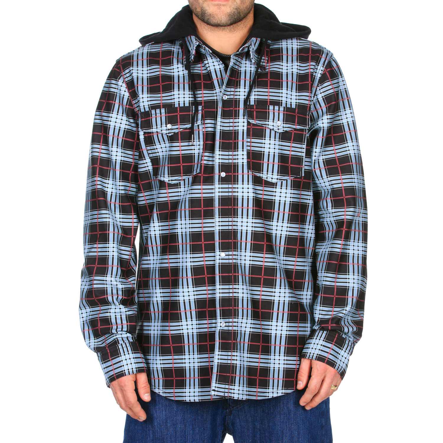 Surf Key Features of the Volcom Redding Flannel Hoodie: Bonded Flannel With Poly Mesh Backing Cotton Jersey Hood Drawcord Hood Cinch Stone Woven Label Standard Fit - $65.95