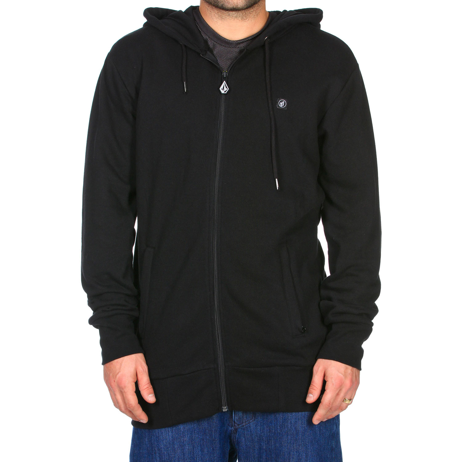 Surf Thew Volcom Sea Town Mod Hoodie is a stylish multi-season piece of casual or sportswear.  It can be used in cooler weather to keep warm but would be comfortable in temperatures into the 60's.  Its fleece material provides warmth where needed but it is light enough to be used as a jacket when a heavier-duty jacket is not required.  A unique aspect of the hoodie is that it's slim fit so it is snug and prevents cold air from getting in.  The Sea Town Hoodie is also aerodynamically efficient which makes it good for extreme activities such as snowboarding or skateboarding.Key Features of the Volcom Sea Town Mod Hoodie:  Cotton Poly Fleece  Cotton Jersey Lined Hood   Extra Wide Ribbed Cuff  Extra Wide Ribbed Hem  Zippered Hand Pockets   Drawcord Hood Cinch   Whistle Zipper Pull   Stone Patch   Long Modern Slim Fit - $45.95