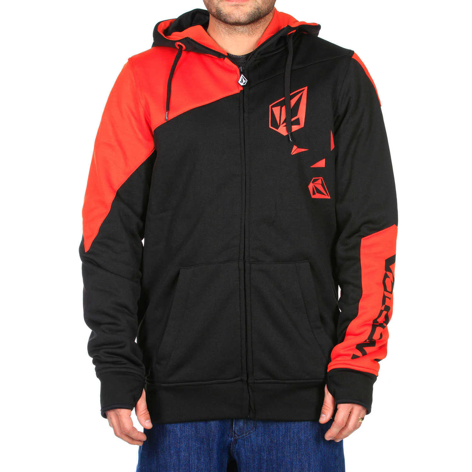 Surf Key Features of the Volcom Vip Hydro Hoodie: 280 gm Hydro Fleece Mesh Lined Zip Tech Jacket to Pant Interface Face Tech Cuff Thumbhole Ribbed Cuff Ribbed Hem Zippered Hand Pockets Drawcord Hood Cinch Whistle Zipper Pull Stone Screen Stone Woven Label Volcom Screen Standard Fit - $110.00