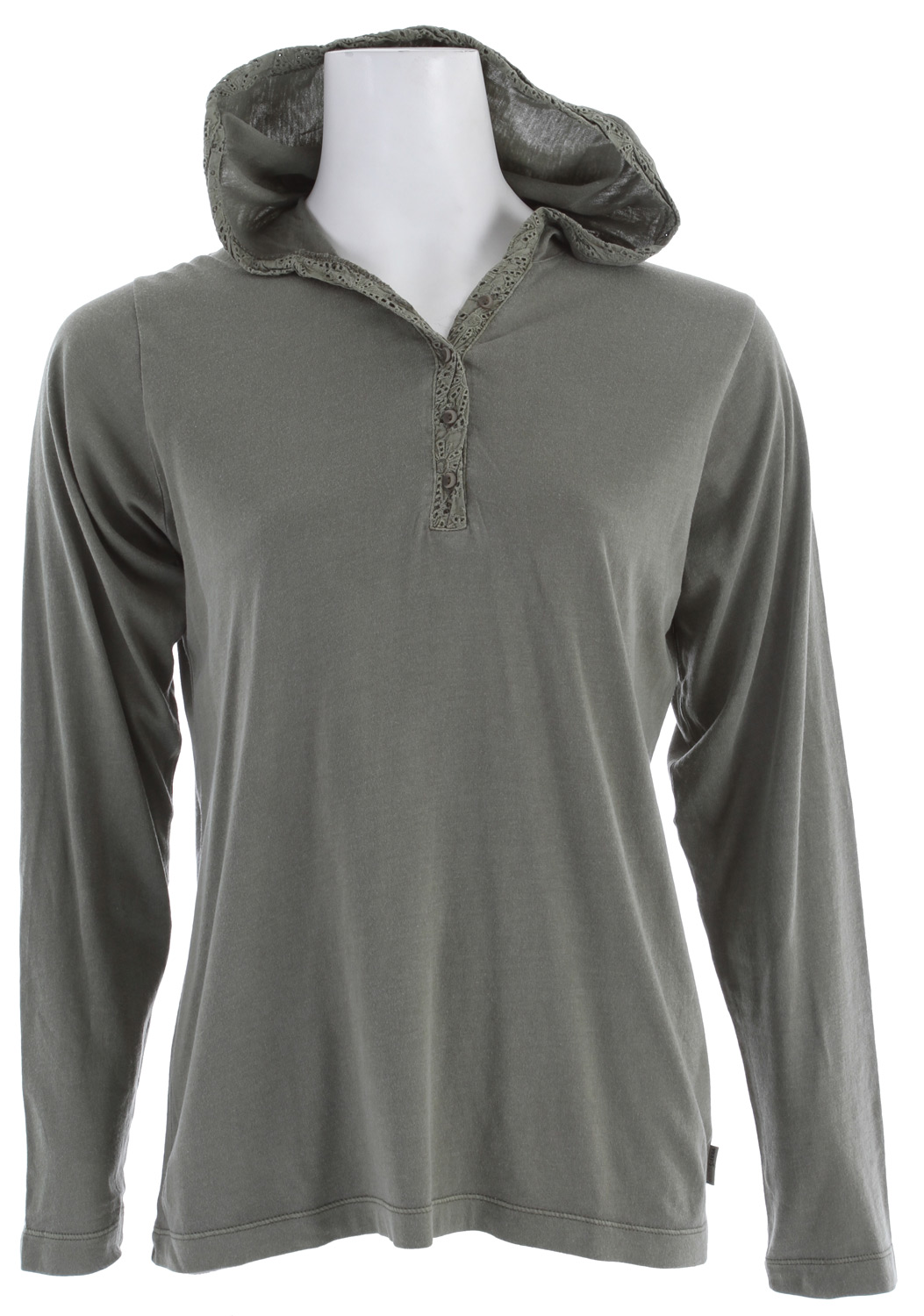 "Entertainment This sporty pullover is exactly what you need. It works well worn alone, or as a light layer over tanks and tees, for those early morning dog walks. Stylish touches include the hood, a V-neckline, and front hand warmer pockets.Key Features of the White Sierra Sugarloaf Hoodie: 55% Cotton / 45% Modal Jersey knit with 100% Cotton crochet trim Pigment garment dye Garment silicone and enzyme washed for buttery soft hand Faded washed down look 25"" back length - $27.95"