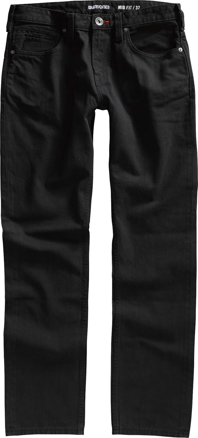 "Snowboard Key Features of the Burton Mid Fit Jeans: 15.5"" Leg openings Contrast Stitching Custom Rivets and Shanks Logo Label on Coin Pocket Medium Rise Mountain Logo Stitch Detail Zip Fly - $37.95"