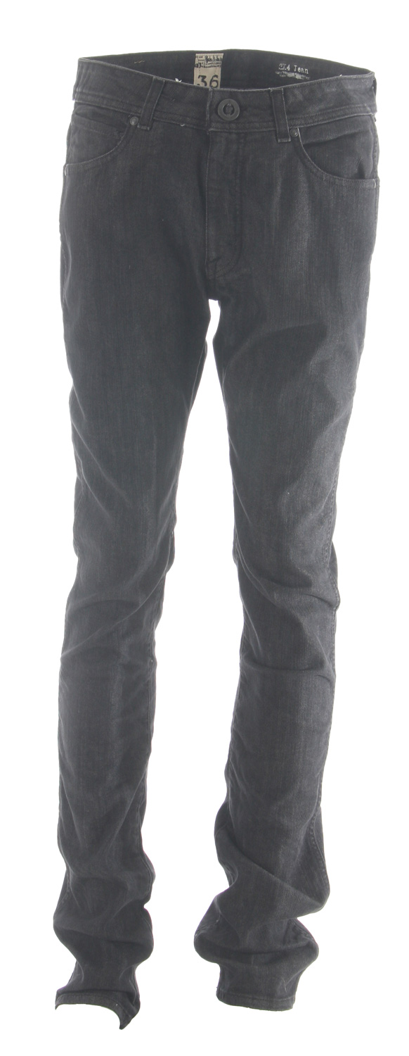 "Surf Key Features of the Volcom 2X4 Jeans: Low rise tight leg fit 14"" leg opening, Asymmetric back yokes Metal buckle button. Volcom Brand Jeans Collection Black Vintage: 99% Cotton / 1% Elastane Flex Wash Black: 72% Cotton / 28% Polyester - $64.95"