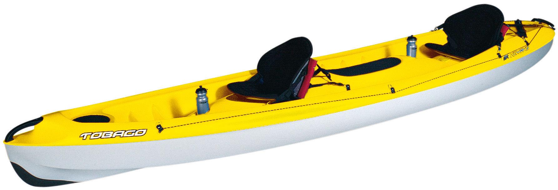 "Kayak and Canoe The Bic Tobago is the kayak for all the family and all uses. Its ergonomic seating positions and well researched design provide for numerous possibilities of use: paddling alone, with 1 or 2 children, 2 adults, even 2 adults and 1 child. The fluid hull lines mean it's also well suited to sport kayaking, with the additional crew of your choice, all with maximum comfort and safety. It's a kayak that's fun, stable and fast.Key Features of the Bic Tobago Kayak: Ideal tandem paddling Sport kayaking Family outings Length: 12'11"" / 3.95m Width: 31.5"" / 0.80m Weight: 70lbs / 32kg Mai load: 550lbs / 250kg Capacity: 2 adults + 1 child - $749.95"