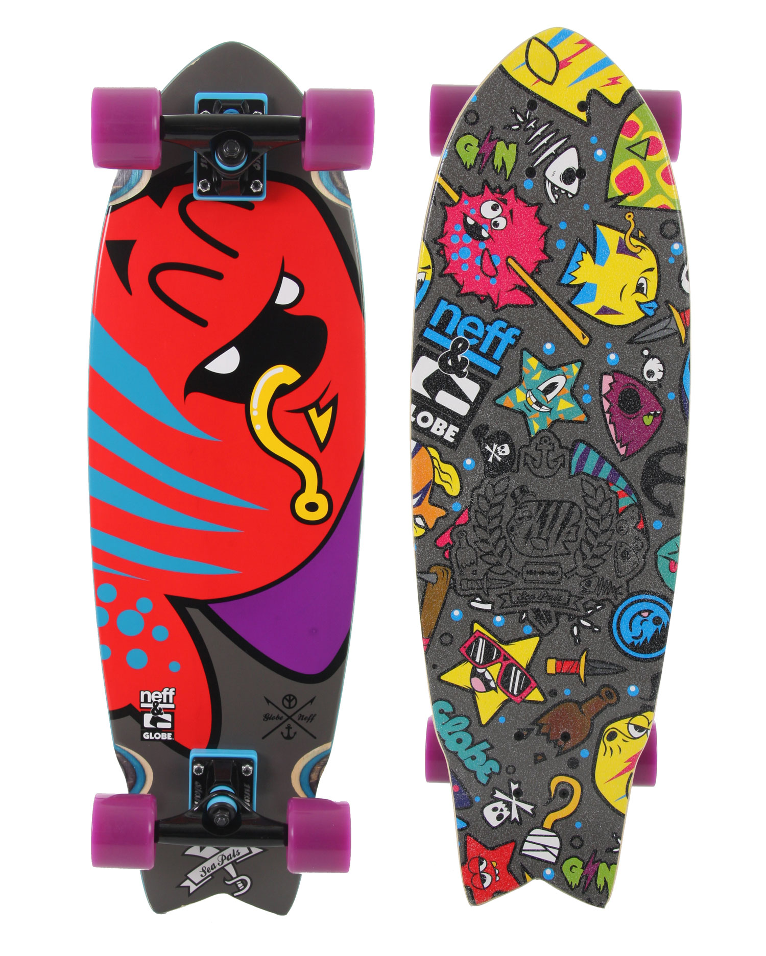 "Skateboard The Globe Neff Sea Pals Cruiser Skateboard is a fresh and funky skateboard for anyone looking for something that performs and looks great doing it. The board has got some really awesome all-over graphics that give it a personality all its own. The board is sturdily crafted from ply hard rock maple and resin epoxy glue and comes with conical wheels and Abec 7 precision speed bearings. The Globe Neff Sea Pals Cruiser Skate Board is the product of great innovation and creativity by companies Globe and Neff.Key Features of the Globe Neff Sea Pals Cruiser Skateboard: Collaboration with Neff 7 Ply Hard Rock Maple With Resin Epoxy Glue 5.375"" Slant Trucks 62mm 83A Conical WheelsAbec 7 Precision Speed Bearings and High Tensile Hardware - $119.95"
