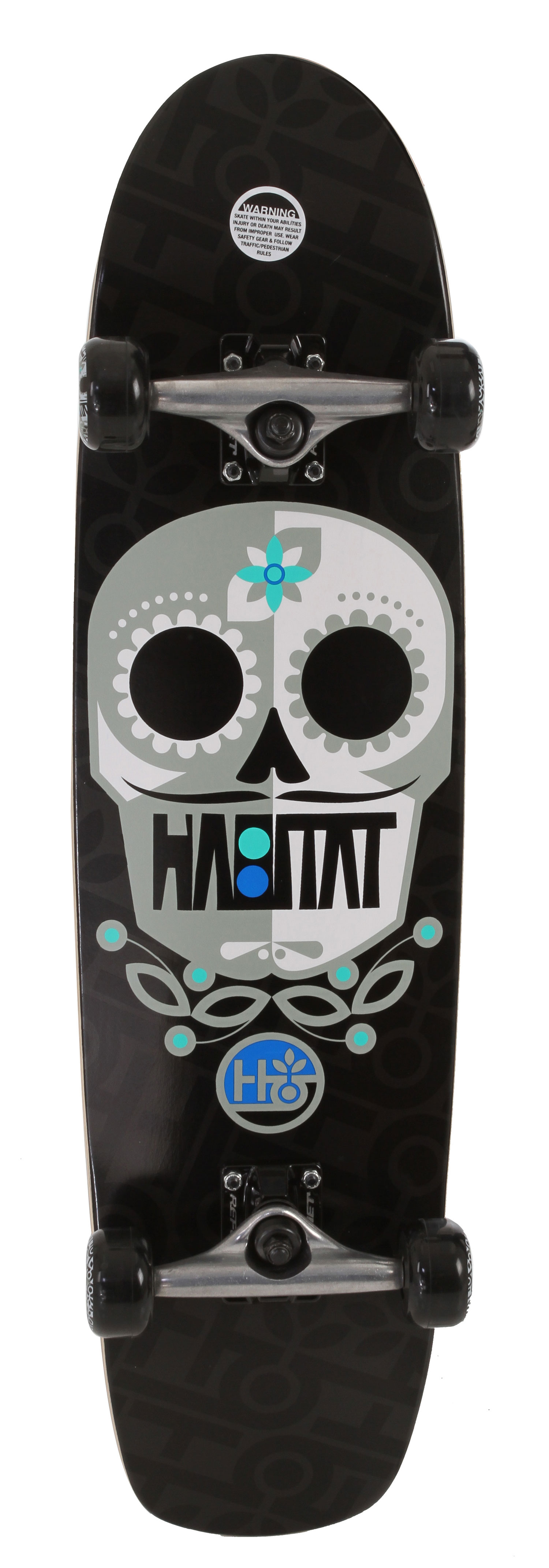 Skateboard Key Features of the Habitat Sugar Skull Large Longboard Complete: Reflex Abec 3 Bearings Reflex Hornet Trucks 56mm/78A Durometer Wheels - $69.97
