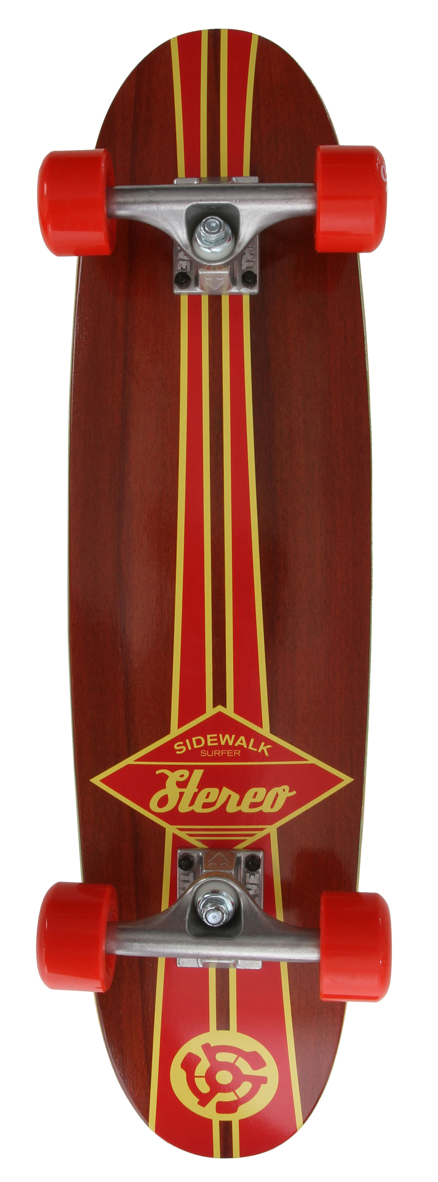 "Skateboard Key Features of the Stereo Sidewalk Surfer Longboard Skateboard Complete: 7.25"" Sidewalk Surfer Cruiser Complete Theeve Trucks Stereo Wheels Grip Tape 7-ply Maple - $96.95"