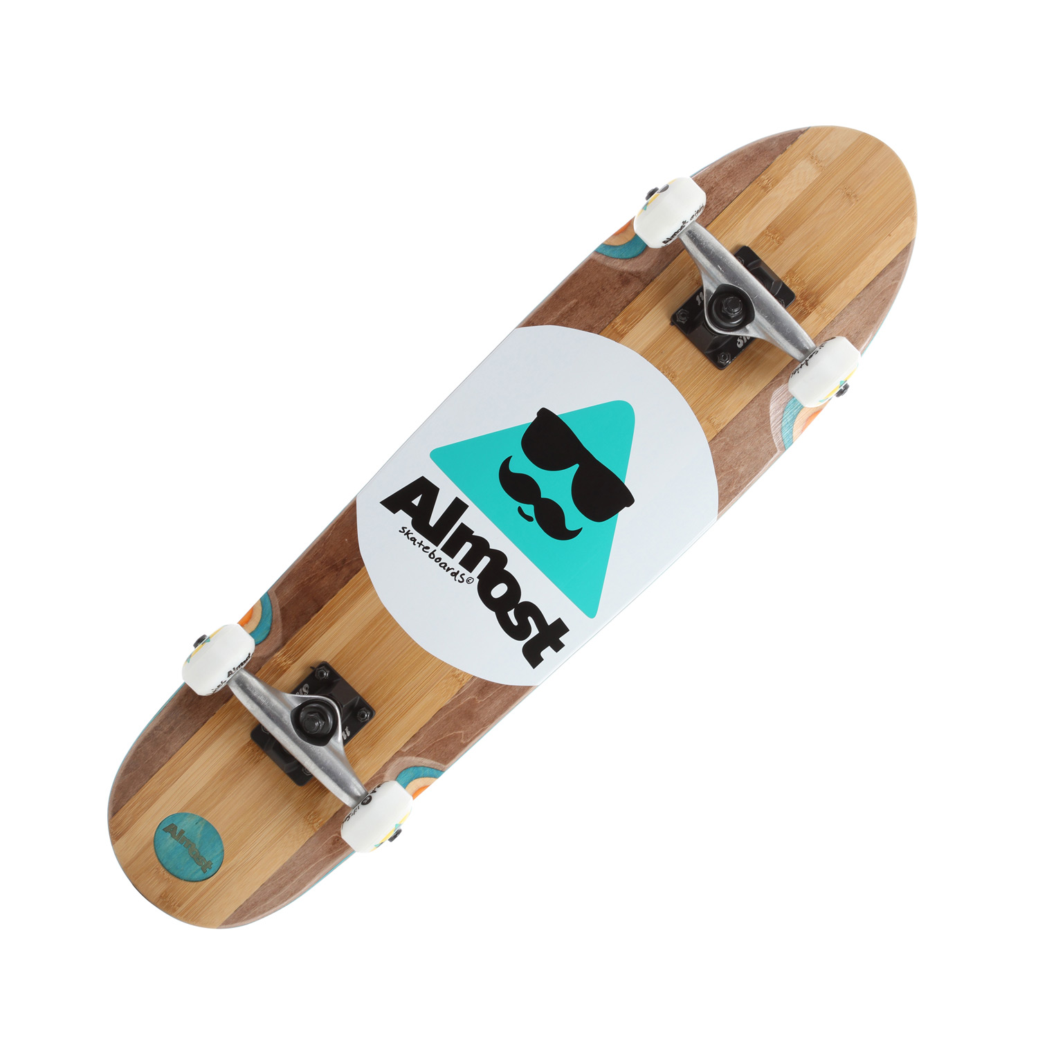 Skateboard Key Features of the Almost Mo Bamboo Longboard Complete: Custom Maple/Bamboo split bottom veneer Custom die cut/ recessed logo Custom die cut grip with top graphic Epoxy Resin glue 53mm 85A wheels - $129.95
