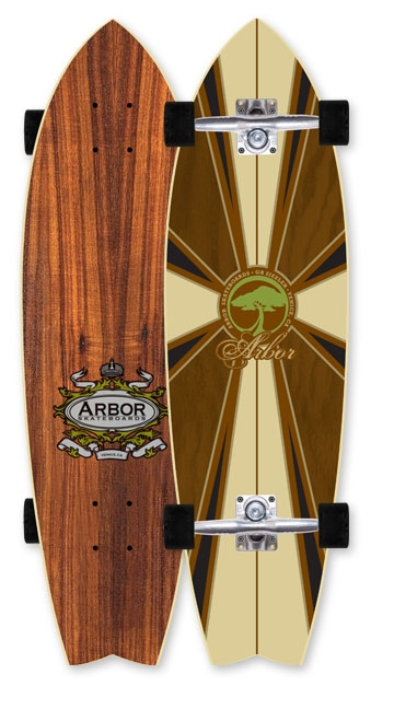 Skateboard A sized-down swallowtail that features a wide profile and tight wheelbase. Modified this year with more real estate in the tail to give your back foot better contact and improved comfort. Ideal for tight down-the-line slashes.Key Features of the Arbor GB Sizzler Longboard Complete: WOOD: All of our wood material comes from sustainable sources of supply. All wood by-product created during the production of our skateboards is reclaimed for use in other Arbor products or by outside companies. LUCID GRIP: Lucid grip is made with long-lasting crushed recycled glass. This ultra clear re-grip surface allows the deck's natural grain and color to remain highly visible, while providing better performance than silica bead alternatives. WATER BASED FINISHES: All Arbor skateboards are produced using a water-based sanding sealer to avoid polluting the air we breathe, especially when skating. RECYCLED PLASTIC RISERS: All Arbor completes are shipped with recycled plastic risers, which allows us to reduce our dependence on petroleum-based plastics, while helping the effort to stop the proliferation of plastic pollution. - $159.95