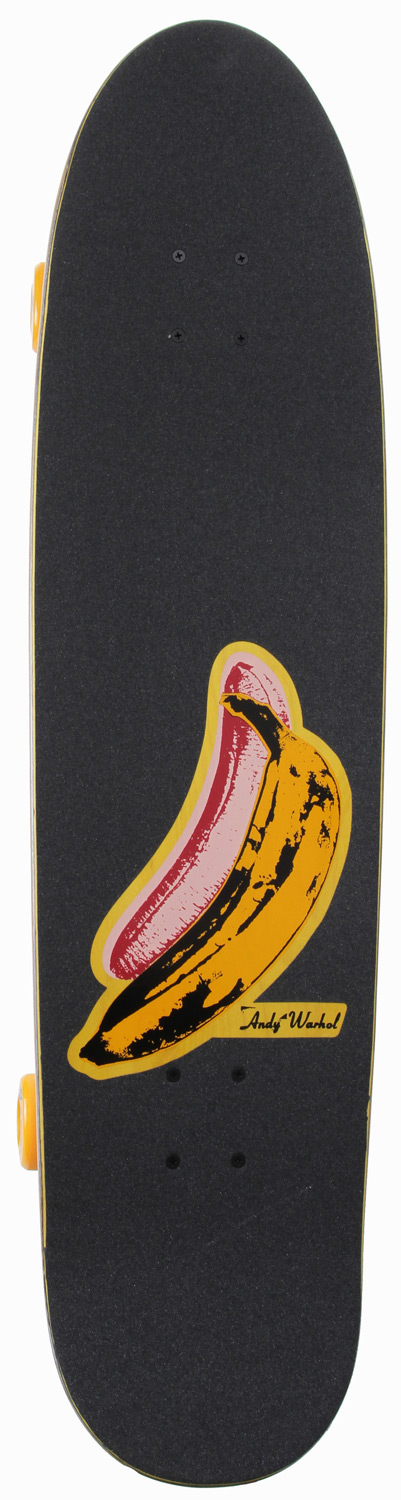 "Skateboard Cut some corners and get some speed with extra style on the Alien Workshop Andy Warhol Banana 36.5"" cruiser board complete. The Alien Workshop Andy Warhol Banana cruiser skateboard features a custom Warhol ""Banana"" graphic, a kick tail for added control, super smooth Alien Workshop Warhol 63mm soft wheels, Reflex trucks for great turns with wheel wells for extra sharp turning capabilities, and Reflex Abec 3 bearings for some added speed. Comes fully assembled and ready to shred right out of the box! Don''t forget the Alien Workshop Warhol Banana longboard complete comes with a die-cut grip tape job that will be the talk of the town. Key Features of the Alien Workshop Warhol Banana Longboard:  36.5  Custom Warhol Artwork.  Completely assembled and ready to ride out of the box.  Reflex hardware and Abec 3 bearings.  Reflex trucks.  Custom die cut grip tape.  Alien Workshop78A 63mm wheels. - $92.95"