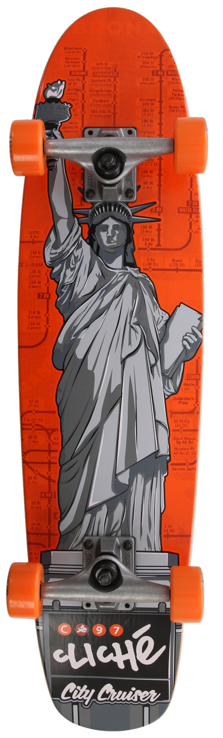 Skateboard Key Featuers of the Cliche Statue Of Liberty Longboard Complete Grey/Orange: 54 mm wheels 83 A bushings - $79.96