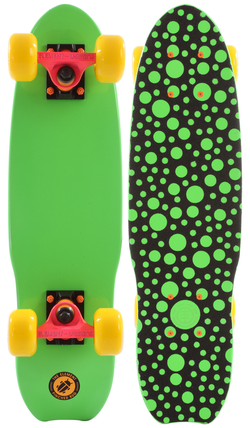 "Skateboard The Element Pincher Bug cruiser complete is a fun little cruiser board that is ready to shred right out of the box. Element wants you to travel well on this pincher shaped mini cruiser board complete with 6"" trucks, soft cruiser wheels, Swiss cheese style top grip, and a bright green color that is sure to stand out. The perfect travel companion or replacement for your car the Element Pincher Bug cruiser from Element will fit on your backpack and get you anywhere you need to go.Key Features of the Element Pincher Bug Cruiser Complete: Notch tail design for extra grip at the rear. Swiss cheese grip tape on the deck. 6"" Element trucks. Soft cruiser wheels. Maple wood construction. Specifications: -Length: 23 in. -Width: 6.25 in. -Height: 3.50 in. -Wheel diameter: 62 mm. - $77.95"