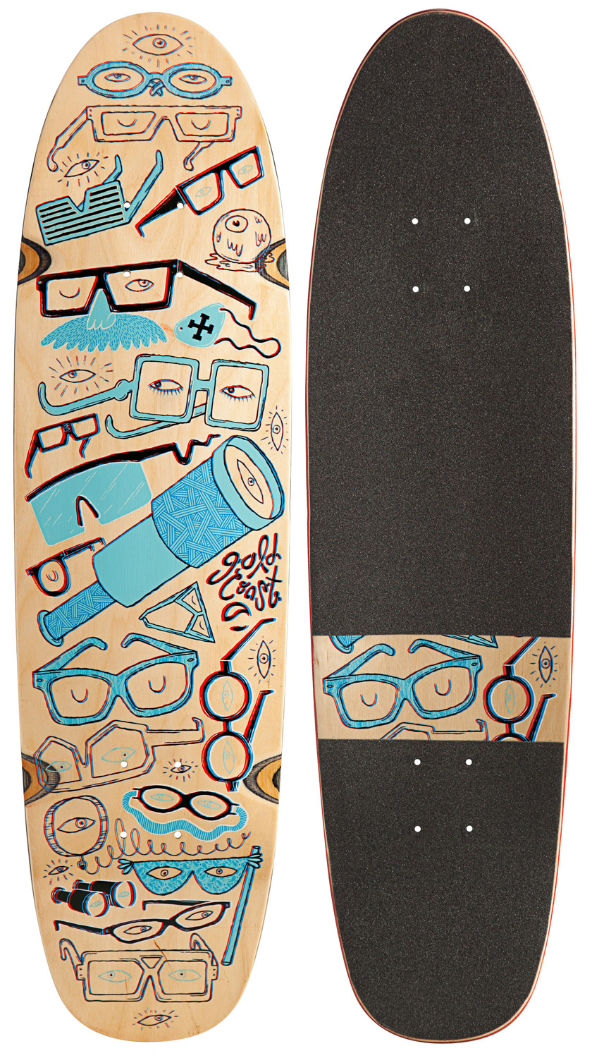 "Longboarding Everyone knows that there are three dimensions, what the 4D presupposes is...what if there was one more  Portland based design collective Jolby made this board to transcend the fourth dimension: Fun. It's a Renegade cruiser shape with all new radii and concave. Avatar has nothing on this thing. Key Features of the GoldCoast 4D Longboard Deck:  31.5"" Long X 8.25"" Wide, 13.75"" Wheelbase  7Ply Canadian Maple  Die Cut Grip Tape  Custom Goldcoast X Jolby 3D Glasses - $32.95"
