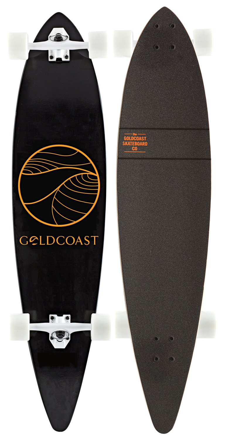 "Skateboard What's more timeless than a 44"" Pintail? Not much. Like a t-shirt and jeans, it's good to go whenever, wherever. Perfect for cruising, transit, or bombing some steeper terrain. Key Features of the Goldcoast Classic Longboard Complete Black/Orange: 44"" Long X 10"" Wide, 30"" Wheelbase 8Ply Canadian Maple ""W"" Concave Printed & Die Cut Grip Tape - $160.00"