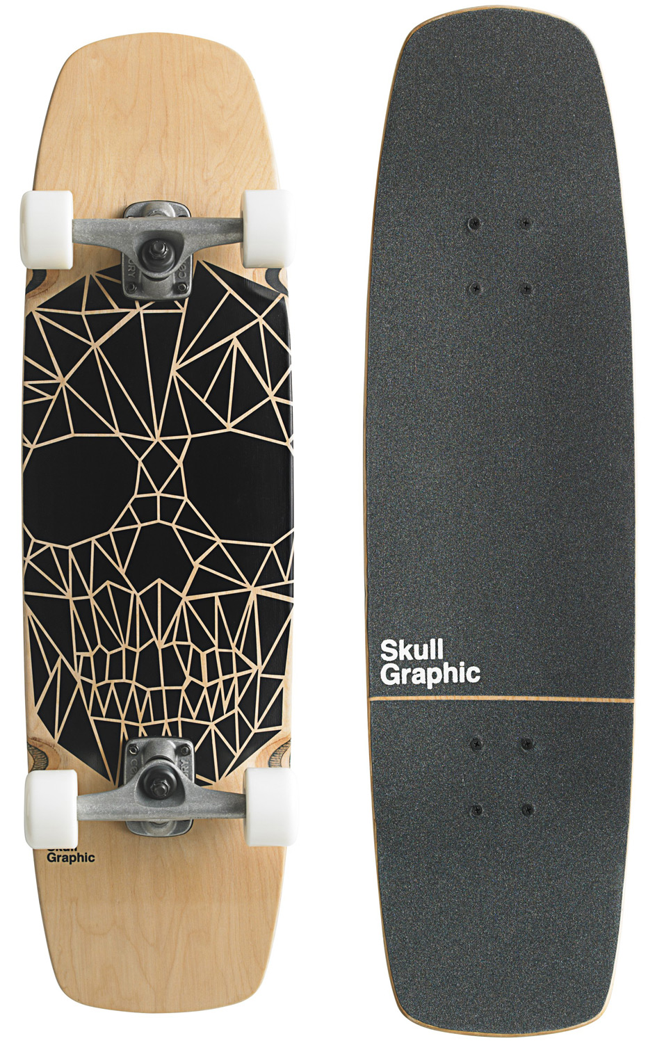 "Skateboard Key Features of the Goldcoast Skull Graphic Longboard Complete: 32"" long x 8.75"" wide, 14.25"" wheelbase 7 ply Canadian maple Die cut and printed grip tape Hellcat wheels, 58mm 90a Century 129mm trucks 95a bushings -.25"" risers Genuine Goldcoast abec 7 bearings - $83.95"