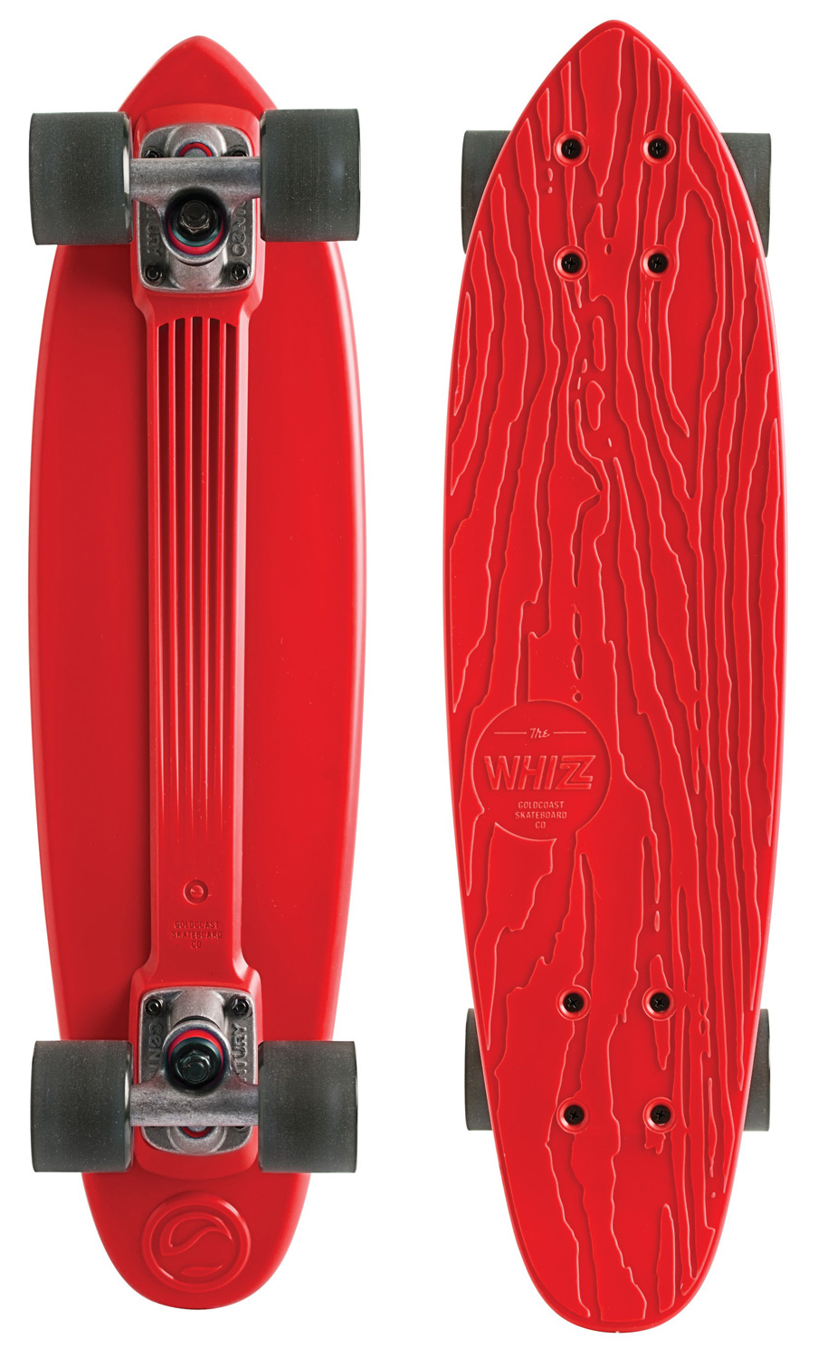 "Skateboard The soft and springy feeling of a plastic board cannot be beat. The Whizz is a classic ""banana"" board inspired cruiser with a distinctive GoldCoast touch. We use recycled ABS plastic, to give objects that did not get to be skateboards the first time around a better life through reincarnation. The board shape is modeled after our ""Pan"" shape, which is a 24"" cruiser with a small kicktail. The Century 79mm Trucks and 60mm ""Cherry Bomb"" Wheels round out the complete with full respect to the past, while keeping the future well in mind.Key Features of the GoldCoast Whizz Longboard Complete Red:  24"" Long X 6.5"" Wide, 14"" Wheelbase   Recycled Plastic  Cherry Bomb Wheels, 60Mm, 78A  Century 79Mm Trucks  93A Bushings  Genuine Goldcoast A7 Bearings - $58.95"