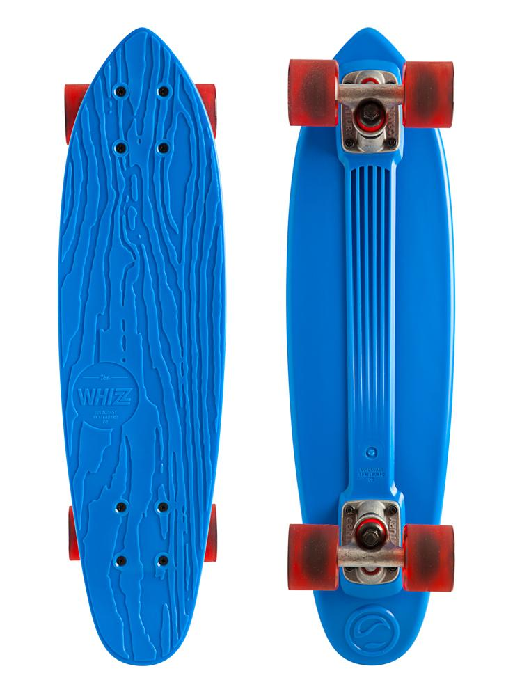 "Skateboard The soft and springy feeling of a plastic board can't be beat. The Whizz is a classic ""banana"" board inspired cruiser with a distinctive GoldCoast touch. We use recycled ABS plastic, to give objects that didn't get to be skateboards the first time around a better life through reincarnation. The board shape is modeled after our ""Pan"" shape, which is a 24"" cruiser with a small kicktail. The Century 79mm Trucks and 60mm ""Cherry Bomb"" Wheels round out the complete with full respect to the past, while keeping the future well in mind. Key Features of the Goldcoast Whizz Longboard Skateboard Complete Blue 6.5x24"": 24"" Long x 6.5"" Wide, 14"" Wheelbase Recycled Plastic Cherry Bomb Wheels, 60mm, 78a Century 79mm Trucks 93a Bushings Genuine GoldCoast A7 Bearings - $55.96"