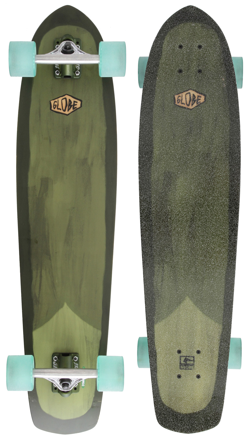 Skateboard Key Features of the Globe Del Rey Longboard Skateboard Green/White: 5 Ply Fiber Carve, Convex Flex Construction Globe First Bushings Painted Surfboard Inspired Art Under Clear Broadcast Grip Abec 7 Precision Speed Bearing And High Tensile Hardware 150Mm Slant Inverted Trucks 69Mm 83A Conical Wheels - $169.95