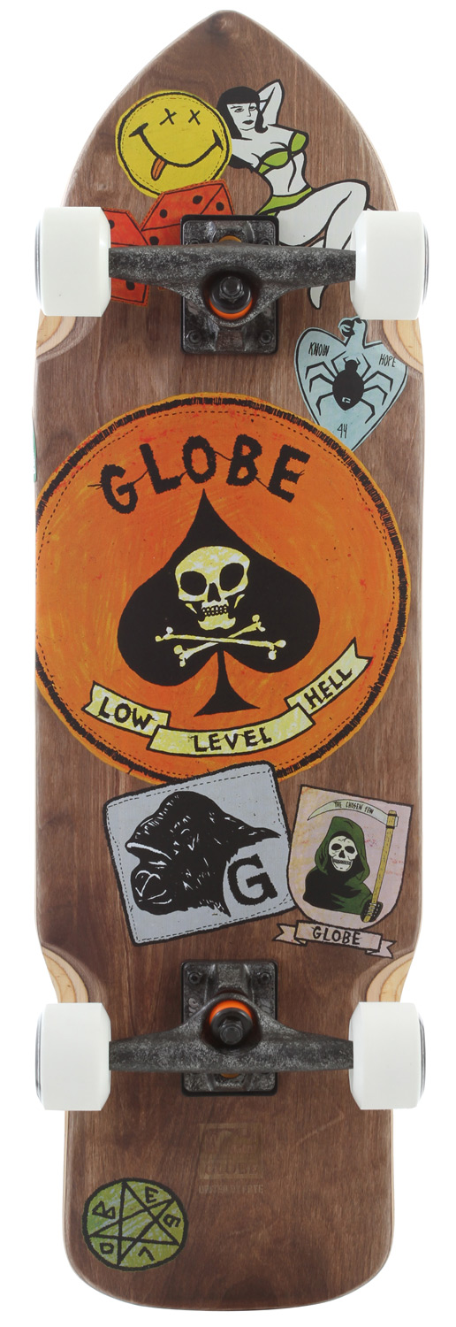 "Skateboard Key Features of the Globe Shank Longboard Skateboard Complete: Globe first bushings 7 ply hard rock maple with resin epoxy glue Split black griptape with top art 60mm/83A wheels 6"" slant grunge truck ABEC 7 precision speed bearings and high tensile hardware - $119.95"