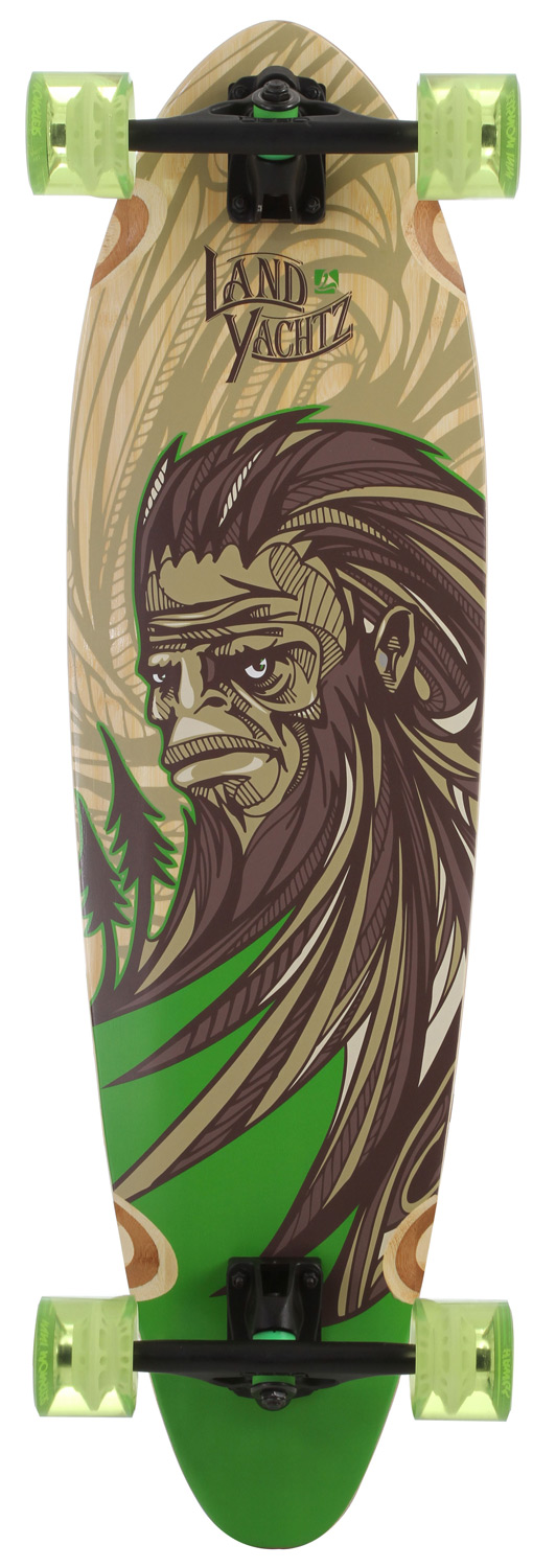 "Skateboard The Landyachtz Bamboo Stout Yeti Longboard is one of the smaller bamboo boards LandYachtz have to offer. This shorter pintail is great for commuting around and cruising. Light weight and smaller size makes it easy to carry around.Key Features of the Landyachtz Bamboo Stout Yeti Longboard Skateboard: Grizzly 8/52 trucks 76mm Monster Hawgs wheels 1/4"" risers LY abec 7 bearings Dimensions: 36 x 10 inch Wheelbase: 25 inch - $199.95"