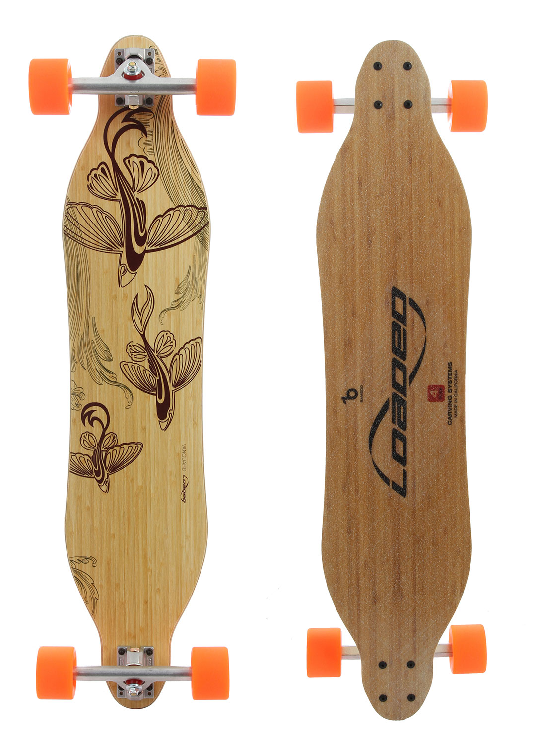 "Skateboard The one that started it all. Symmetrical shape and stance for a balanced center of gravity to increase the ability to weight the deck through turns for better control and energy generation. The sidecuts allow for decreased torsional stiffness between the feet to exploit the board's torsional energy to allow for greater nuances in the turning radius. The Vanguard was designed and intended for speeds between 0 and 25 mph (0-40km/hr). You can take the board faster with skill and experience, but it is not intended for higher speeds due to its flex characteristics.Flex 1: Up to 270 lbs // Flex 2: 130-210+ lbs // Flex 3: 80-170+ lbs Keep in mind that a softer flex pattern will give you more control and tighter turns at slower speeds and make it easier to slide, but tends to lose stability slightly at higher speeds. Stiffer flex means more energy potential, more stability at higher speeds, and better longevity through abusive tricks and aerial landings, but will not be as forgiving and lively when cruising. The Flex 1 is considerably stiffer so as to be appropriate for heavier riders and hardpounding thrashers alike.Key Features of the Loaded Vanguard Flex 4 Longboard Complete: Length: 42""/107cm & 38""/98cm Width: 8.5""/21.5cm Wheelbase: 35""/88.9cm & 31.5""/80cm Weight: deck only: 2.7 - 3.8lbs / 1.2 - 1.7kg complete: 6.9 - 8lbs / 3.1 - 3.6kg Epoxy and Tri-axle fiberglass sandwich a vert-lam Bamboo core, pressed into concave and convex cambers for liveliness, responsiveness and high energy potential. - $311.00"