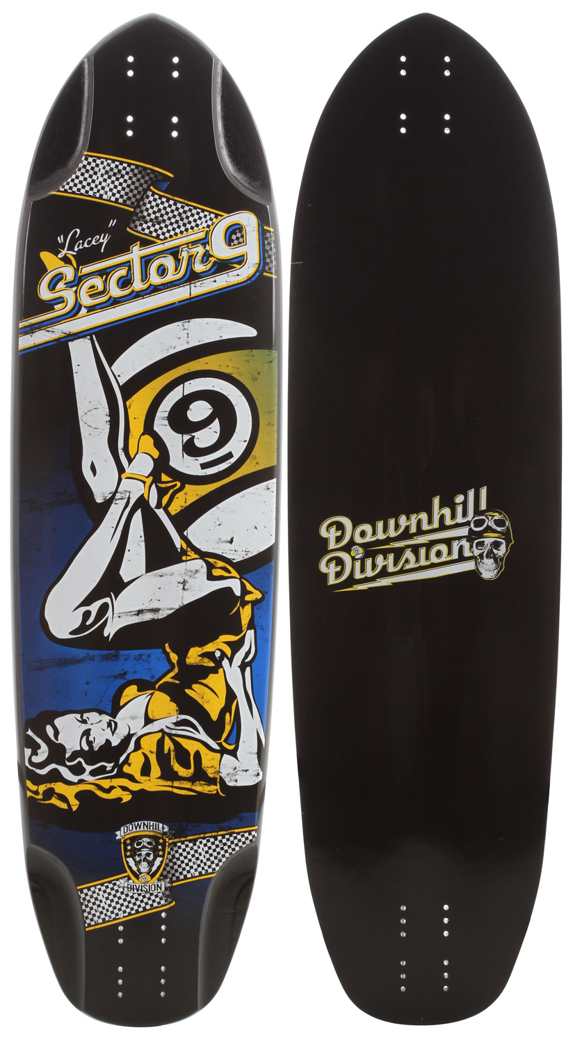 "Longboarding Key Features of the Sector 9 Lacey Downhill Division Longboard Skateboard: Mellow Concave Grip with Printed Graphic 8 Ply Maple Construction Length (in): 38.0 Width (in): 10.5 Sector 9 ""Race Concave"" CNC Precision Cut Wheel Wells - $99.95"