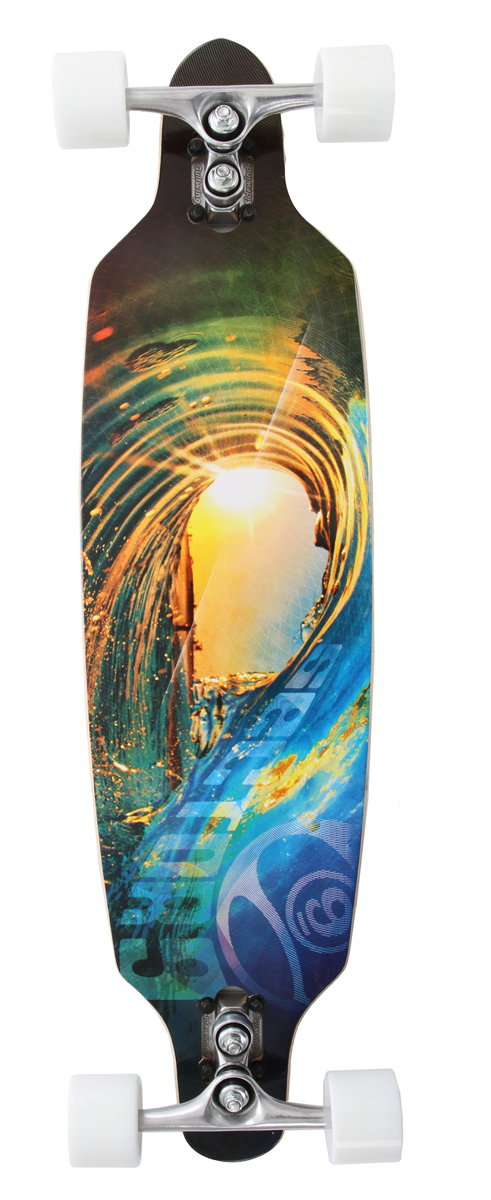 "Skateboard Key Features of the Sector 9 Fractal Sidewinder Longboard: 8 Ply Maple Drop Through Mounting New Concave Camber Mold 36.0"" L x 9.0"" W x 26.375"" WB 9.0"" Gullwing Sidewinder Trucks 69mm 78a Nineball Slalom Wheels Abec 5 PDP Bearings 1.5"" Low Pro Hardened Steel Bolts Full Grip Tape with Die Cut for Logo - $209.00"