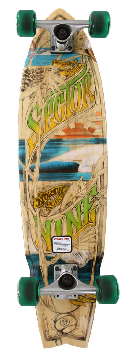 "Skateboard This is another solid all around cruiser in the Bamboo Series. This boardhas a enough of a wheelbase to let people relax and cruise, but still hasthat kicktail for functionality. As you're flowing through the alleys, don't besurprised if visions of perfect North Point are flashing through your mind.Key Features of the Sector 9 Westo Oz Bamboo Longboard: 5 Ply Vertically Laminated Bamboo 34.0"" L x 8.75"" W x 21.0"" WB 9.0"" Gullwing Mission 1 Trucks 61mm 78a Center Set Biothane Wheels Abec 5 PDP Bearings 0.5? Sector 9 Recycled Plastic Risers 1.5"" Hardened Steel Bolts Clear Grip Tape - $169.00"