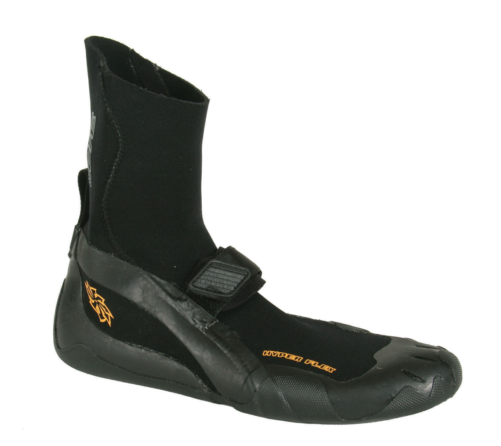 Surf The Hyperflex Cyclone round Toe boot is a high performance surf boot made by Hyperflex Wetsuits. As with all Hyperflex products, this boot is a perfect combination of performance and price.Key Features of the Hyperflex 3/2 Round Toe Surf Neo Boot: 100% Sealed seams: Glued, blind stitched and taped for crucial warmth in cold conditions Round Toe design for crucial warmth in cold conditions Superstretch upper for complete flexibility and range of motion New Hyperstretch upper and pull on strap makes it easy to put on and take off in all conditions and boot thicknesses. Dual-density construction. 3mm upper and 2mm footbed allows a thicker, warmer boot without sacrificing board sensitivity and control. Adjustable arch strap locks down foot and prevents sliding - $33.95