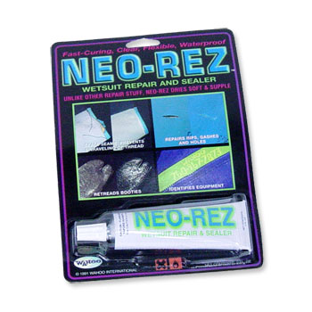Neo Rez wetsuit repair is fast curing, clear synthetic rubber, ideal for repairing neoprene. Dry in 20 minutes and usable in 2 hours. Totally waterproof, flexible and strong. 2.8 oz tube. - $10.50