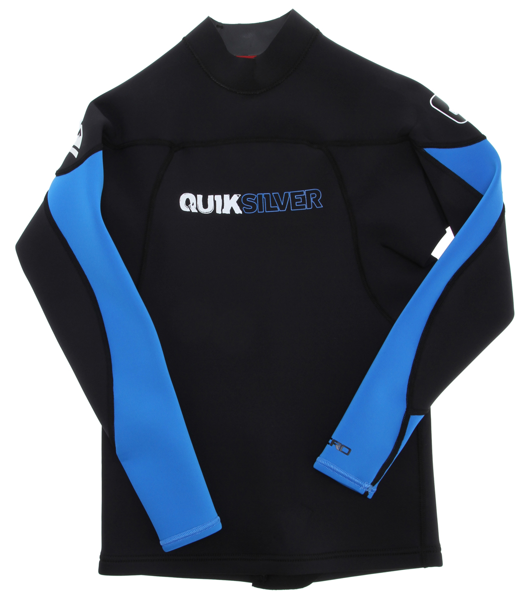 Surf Be sure to keep warm while looking cool when you put on a Quiksilver Synchro Sleeve Jacket. This 100% hyper-stretch II neoprene jacket has flatlock seams and a short lower back zip to make it easier to throw on as you're heading out to the beach to grab a big wave. The Quiksilver Jacket has a board shorts tie loop and will hold up to whatever action you're looking to tackle as you hit the water.Key Features of the Quiksilver Synchro 1.5mm Long Sleeve Jacket: 100% Hyperstretch II Neoprene Flatlock seams Short lower back zip for easy entry Boardshorts tie loop Imported - $41.95