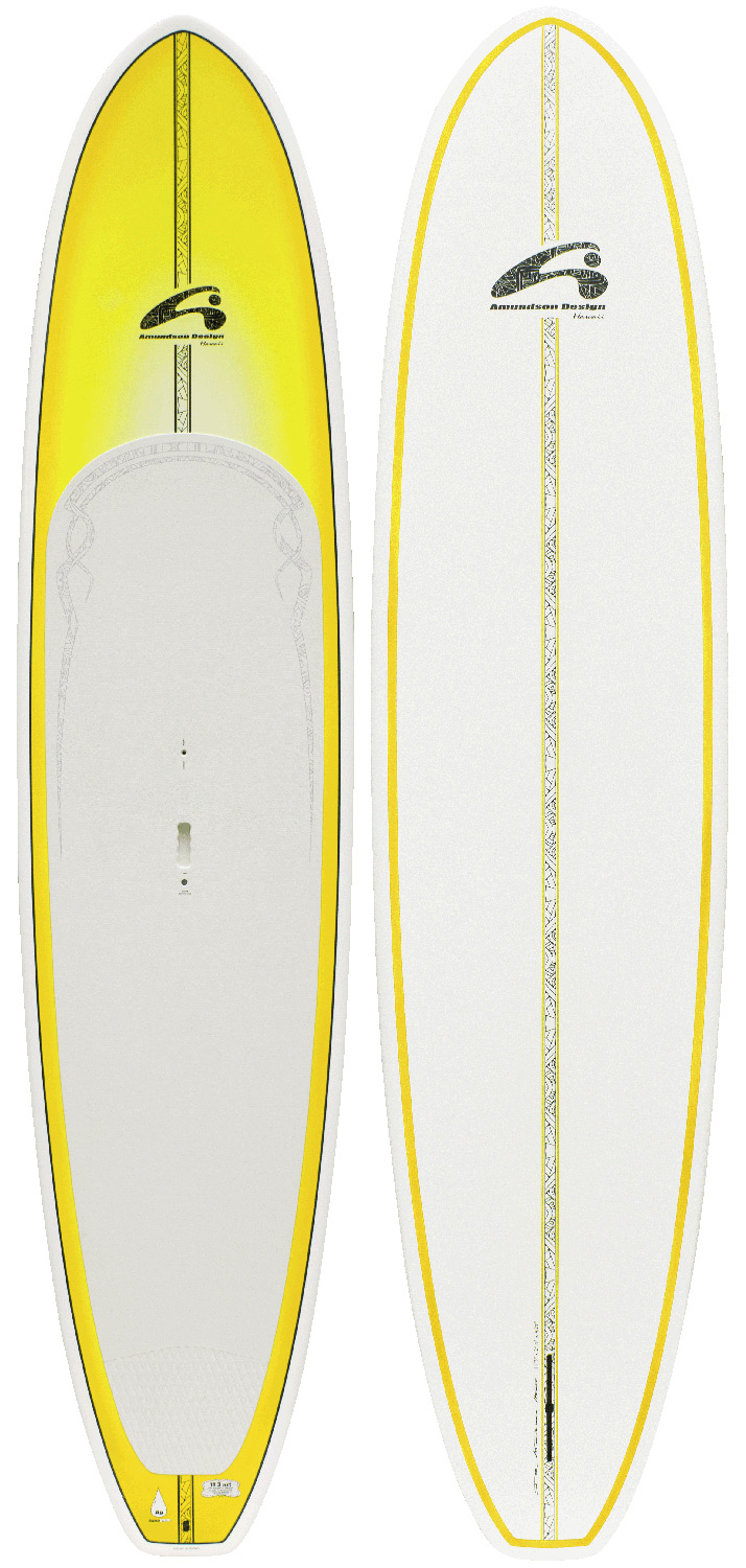 "Surf Extremely versatile all-around board. The 11.3 is the most versatile board in the line-up. It has enough length to make it track straight and fast, with a moderate width for stability for entry level riders up to 180 pounds. Thin rails and a little bit of tail rocker remind you that this board was born in the waves of Hawaii. The low volume design helps keep the weight down to a very manageable 26 pounds, which makes it easy for car-topping. Cruise it, surf it, wherever your mood takes you, this board is ready to go. Built in Epoxy ASA construction for lightweight and durability, the 11.3 comes equipped with full EVA deck pad, deck box with transport handle, and epoxy fin.Key Features of the Amundson All Around AST SUP Paddleboard 11ft 3in: 11'3"" x 29 1/2"" x 4 1/4"" 160 liters, 26 lbs. DuraTec: A semi-custom epoxy construction that is strong and especially ding-resistant. Ideally suited for sport and recreational paddlers who do not want to ""baby"" their board, but expect it to continue looking good. DuraTectm involves thermo-laminating a very thin layer of ASA composite to the board's bottom and rails. DuraTectm replaces the need for paint or gelcoat so the overall gains are in strength, not weight. Full Deck: Features a factory-installed, full length EVA deck pad. Ultra-plush, durable EVA is factory-installed so that all you have to do is go paddle. Embossed snakeskin tread sheds water and provides a comfortable platform with great traction. Molded Handle: Includes a convenient molded transport handle. Molded handle tucks into deck and stays out of the way when paddling. Deck Box: Includes inset deck box for optional sailing rig. When the wind is up, having the option to sail adds incredibly versatility to your standup board! 9"" US deck box fits standard mast foot. - $1,021.95"