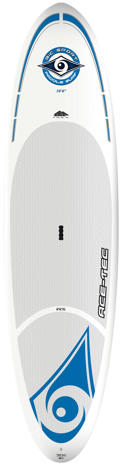 "Surf The 10'6"" ACE-TEC SUP is designed as an all-round performer for riders up to 180lbs/80kg and as a performance surf SUP for riders up to 220lbs/100kg. It features even volume distribution, confidence-inspiring width and a refined rocker profile for surf performance as well as flatwater glide. This is a highly versatile SUP suitable for a wide range of conditions. With decades of experience in windsurf and surfboard manufacturing BIC Sport is a pioneer of thermoformed composite construction technology. Over the past few years we've refined the ideal composite lay-up for SUP, with ACE-TEC as the result. Three sizes suit the needs of experienced riders and newbies alike with a unique combination of durability, light weight and performance shapes. All ACE-TEC boards come standard with the FCS fin system, a premium diamond groove EVA deck pad, ergo-grip carry handle and integrated rail guard.Key Features of the Bic Classic Paddleboard SUP 10' 6"": Length: 10'6in/320cm Width: 31.5in/80cm Volume: 185L Weight: 26lb/12kg Fin set-up: FCS Dophin 10"" + FCS M5 Shaper: Peter Hosking - $1,049.95"