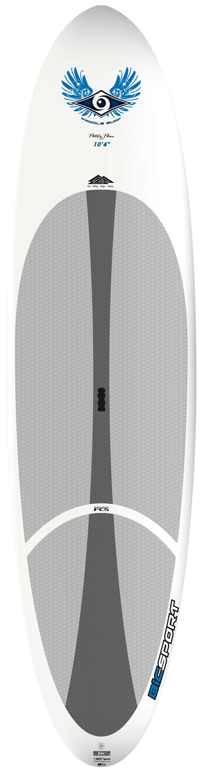 "Surf Designed for beginner to intermediate riders up to 180lbs/80kg.With the same great handling and evenly spread volume distribution as it's bigger brother, the 10'4"" ACS SUP is as easy to ride in flatwater, with superb directional stability, as it is maneuverable in small waves. Combine an ultra-durable polyethylene outer shell (like a kayak but lighter weight) with a full polyurethane foam core (like a surfboard) and what do you get? An extremely durable board for less money than you'd expect. Thermoformed in steel molds, ensuring consistent and accurate reproduction of the original shape. Proven and long lasting with great performance, ACS boards are aimed at beginner riders just getting into the sport looking for a strong, stable board for flatwater paddling with the potential to progress into surfing. They're ideally suited to surf and SUP schools looking for strong, easy to use equipment that students can make rapid progress on. All ACS boards feature the FCS fin system, a premium diamond groove EVA deck pad and ergo-grip carry handle.* Material: Epoxy ASA * Hull Shape: Planing/Surf * Fins: Single Fin * Traction Type: EVA Deck Pad * Fin set-up: FCS Dolphin 10"" * Shaper: Peter Pan - $694.95"