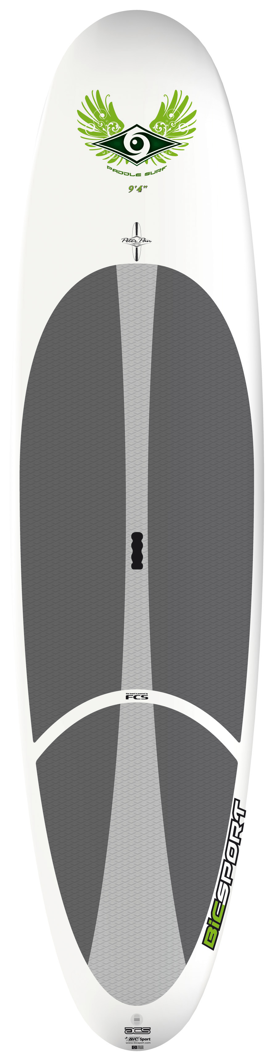 "Surf Designed for beginner to intermediate riders up to 180lbs/80kg.With the same great handling and evenly spread volume distribution as it's bigger brother, the 10'4"" ACS SUP is as easy to ride in flatwater, with superb directional stability, as it is maneuverable in small waves. Combine an ultra-durable polyethylene outer shell (like a kayak but lighter weight) with a full polyurethane foam core (like a surfboard) and what do you get? An extremely durable board for less money than you'd expect. Thermoformed in steel molds, ensuring consistent and accurate reproduction of the original shape. Proven and long lasting with great performance, ACS boards are aimed at beginner riders just getting into the sport looking for a strong, stable board for flatwater paddling with the potential to progress into surfing. They're ideally suited to surf and SUP schools looking for strong, easy to use equipment that students can make rapid progress on. All ACS boards feature the FCS fin system, a premium diamond groove EVA deck pad and ergo-grip carry handle.Key Features of the Bic ACS SUP Paddleboard 9' 4"": Length: 9'4in/285cm Width: 27.5in/70cm Volume: 120L Weight: 30lbs/16Kg Fin set-up: FCS Dolphin 10"" Shaper: Peter Pan - $694.95"